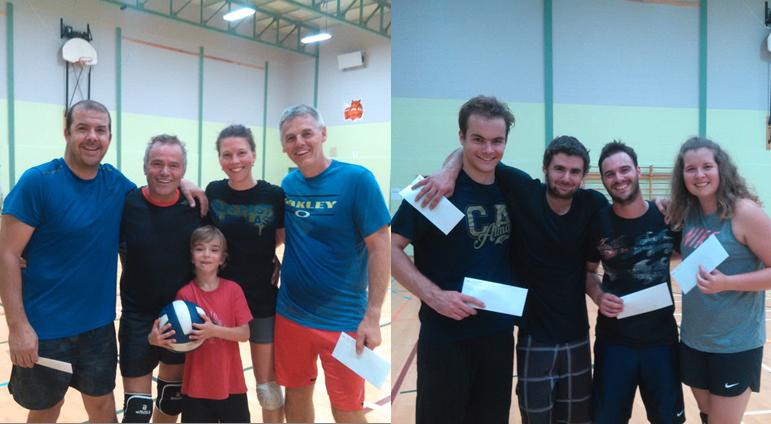 Équipe gagnante et finaliste Tournoi Volley-Ball GYM-Action septembre 2017