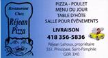 Restaurant chez Réjean enr